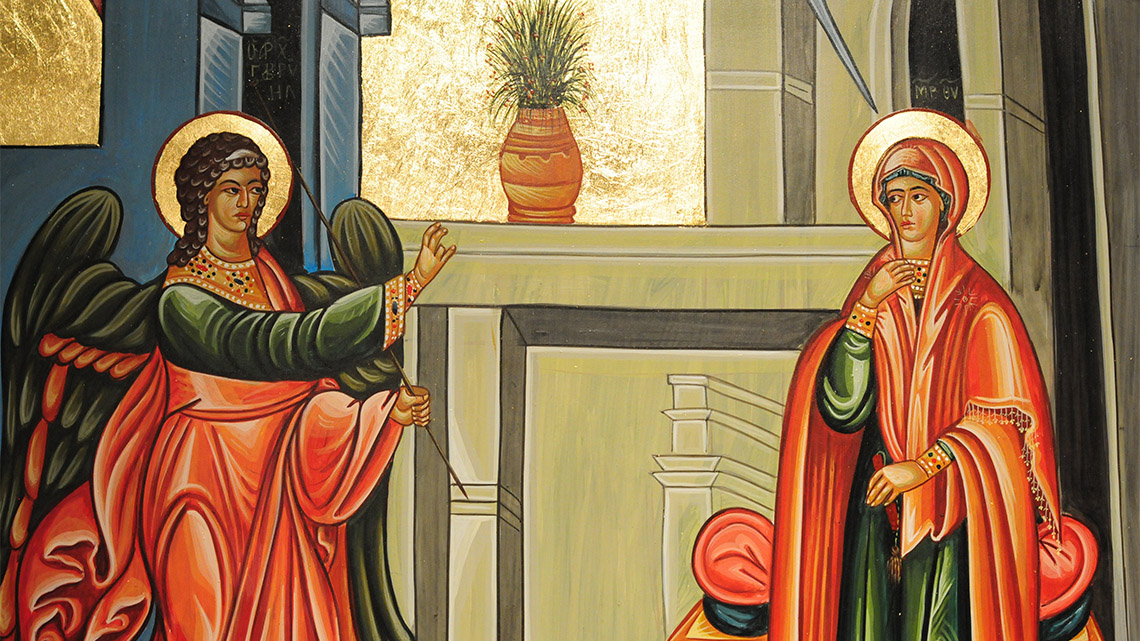 Detail from painting showing the Anunciation.