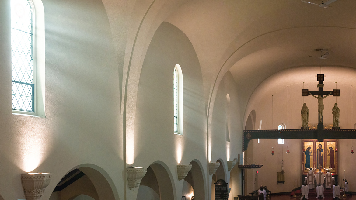 Light streaming through the sanctuary windows