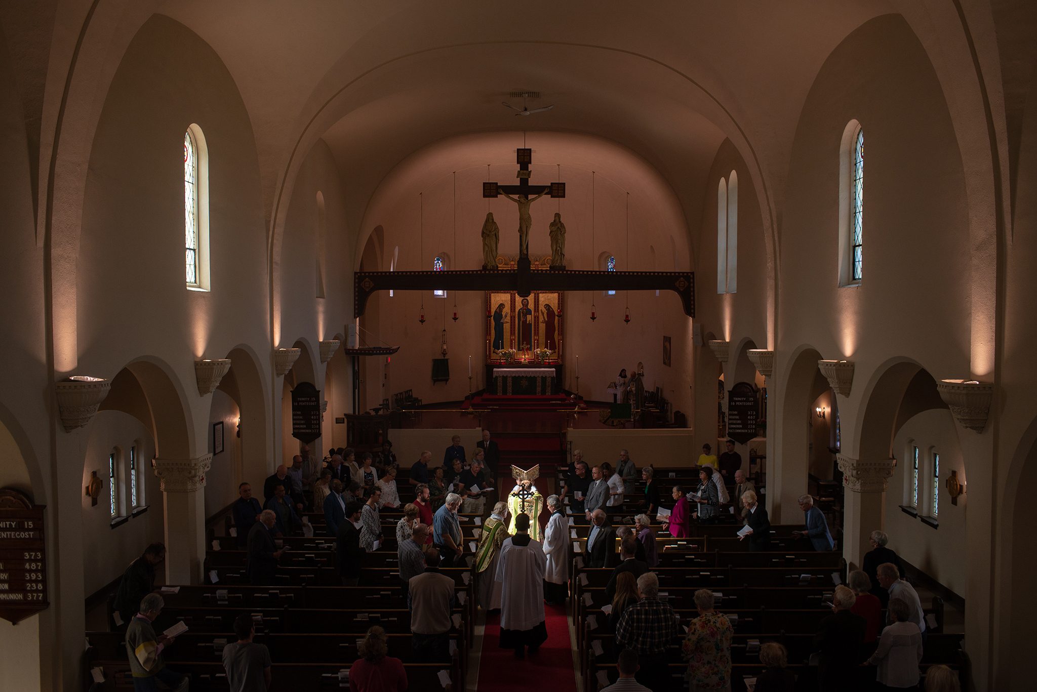 Photo of sanctuary during Gospel reading recessional, September 9, 2018