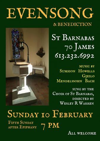 Poster for February Evensong