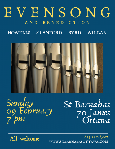 Poster for Feb. 9 evensong (all details in event description)