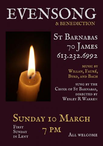 Poster for March 10 Evensong. (Details are in event description.)