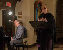 Soprano Elizabeth Brown and accompanist Wesley Warren performing The Confession Stone