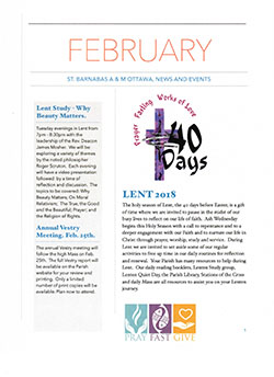 Cover of February newsletter.