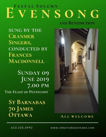 Poster for June 9 evensong. (Details are in the event description.)