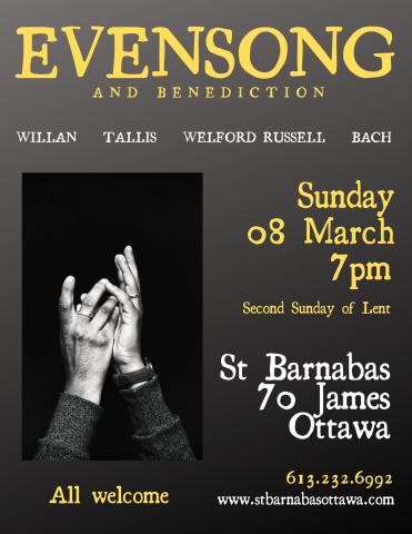 March 2020 Evensong Poster (details in event description)