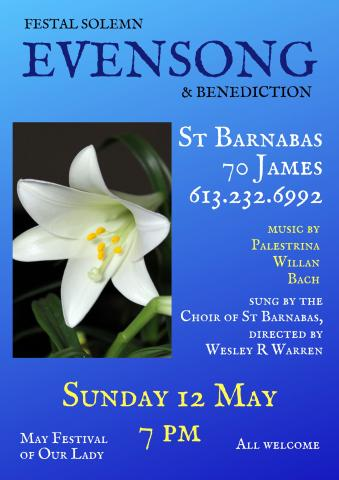 Evensong poster (details are in event description)