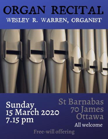 Poster of organ pipes for March 15 organ recital.