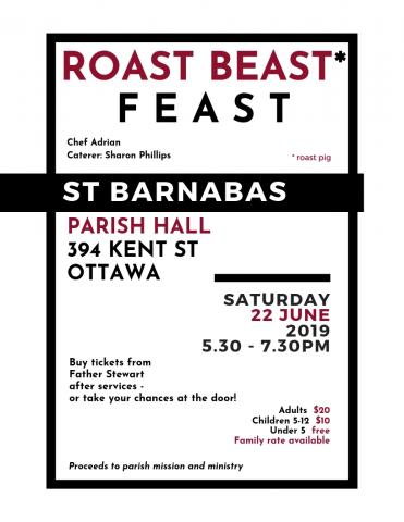 Poster for Roast Beast Feast (details in event description)