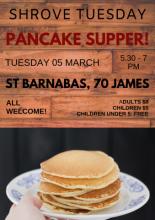 Poster of pancake supper (details in event description)